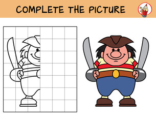Pirate with two cutlasses. Copy the picture. Coloring book. Educational game for children. Cartoon vector illustration