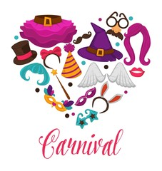 Carnival masks and costume accessory vector heart poster of flat icons set