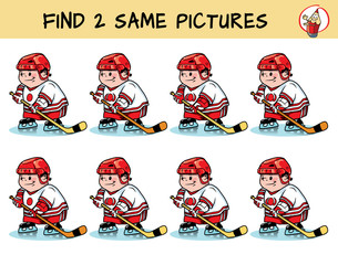 Hockey player. Find two same pictures. Educational matching game for children. Cartoon vector illustration