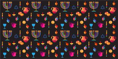 Hanukkah Jewish Holiday seamless pattern with traditional Chanukah symbols - wooden dreidels (spinning top), donuts, menorah, oil jar, candles, star of David, lights, doodle pattern. Vector