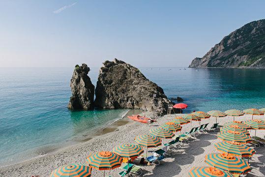 Umbrellas on the beach of Monterosso al Mare