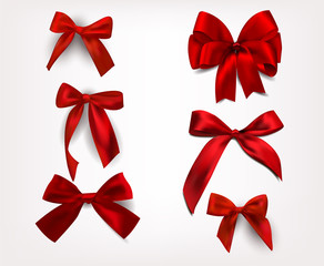 Set of silk red bows. Vector illustration
