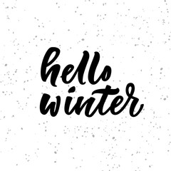 Hello winter lettering on white background.