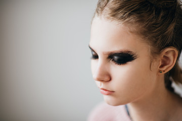 Closeup of young model with spooky makeup