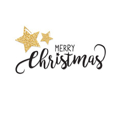 Elegant Christmas background with shining gold glittering stars background