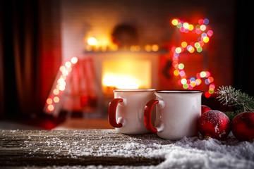 Fototapete - christmas time and mug on desk