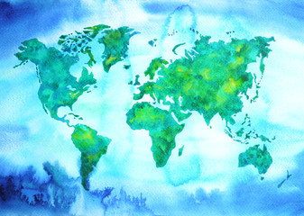 world map blue green tone watercolor painting on paper hand drawn
