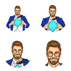 Set of vector pop art round avatar icons for users of social networking, blogs, profile icons. Businessman, manager, super worker in a suit with a shirt open on his chest