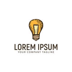 lamp hand drawn logo design concept template