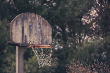 Old Basketball Hoop at an Abandoned Court