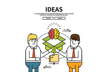 Flat line vector editable graphic website illustration, business ideas