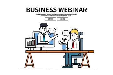 Flat line vector editable graphic website illustration, business webinar