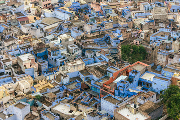 Blue cityscape with houses and buildings in Jodhpur, India