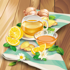 Glass cup of ginger tea with raw sliced on pieces ginger root and lemon, leaves, flower lying on wooden table hand-drawn vector illustration. Fresh brewed aromatic herbal beverage with oriental spicy