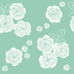 blue white rose flowers seamless pattern