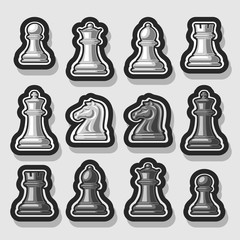 Vector set of Chess Pieces, collection of 12 white and black isolated silver chess figures, classic king & queen, outline bishop and knight, monochrome rook & pawn chess pieces for strategic game.