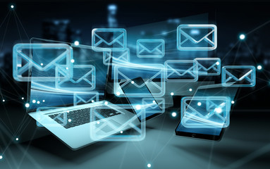 Email icon interface over modern tech devices 3D rendering