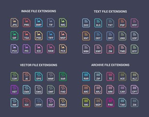 Colored File extension flat vector icons. Image, text, archive, vector file types format