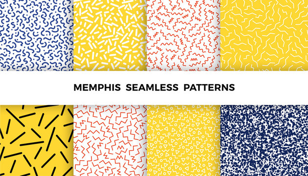 Set of bright geometric memphis patterns with wavy lines, triangles, circles, zig zags. 80s and 90s graphic design style. Vector seamless backgrounds.