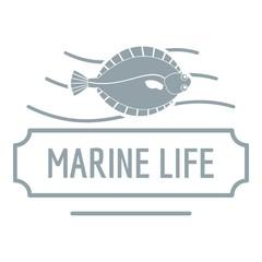 Marine life logo, simple gray style