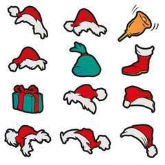 Set hats, sack, bell, gift, boot for Santa Claus. Christmas cartoon vector icons.