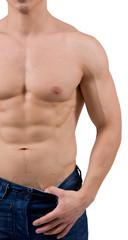 Uomo a torso nudo in jeans