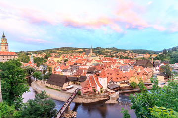 Top view Cesky Krumlov Castle with Tower in sunset
