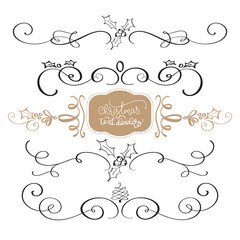 Merry Christmas calligraphy Collection of design elements vintage set isolated on white background. Vector illustration