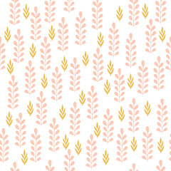 Cute herbs seamless pattern. Scandinavian background. Nature style.