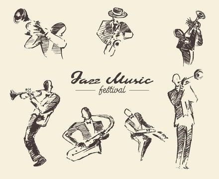 Set man playing trumpet vintage hand drawn sketch