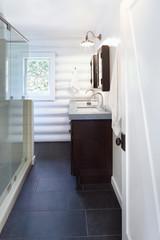 Modern design bathroom in log cabin