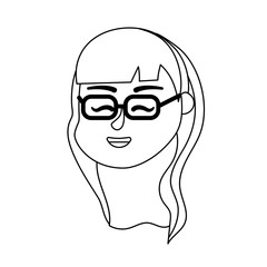 line avatar woman head with hairstyle design