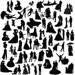set of wedding silhouettes