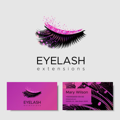 Branding for salon eyelash extension, shop cosmetic products, lashmaker, stylist. Logo, business card. Design with pink glitter. Vector illustration in modern style