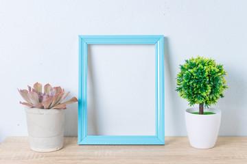 mock up frame photo in room.home decoration