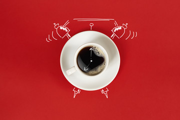 Clock. Cup of fresh espresso with clock sign on red background