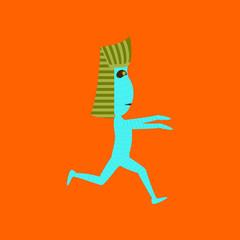 flat illustration on background of mummy halloween monster