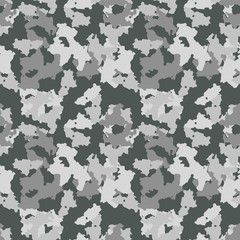 Gray camouflage is a masking seamless pattern that can be used as stone or snow camo print for clothing and background and backdrop or computer wallpaper