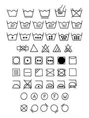 Doodle laundry symbols.