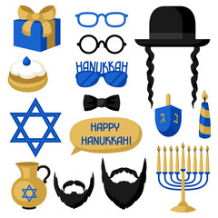 Happy Hanukkah photo booth stickers. Accessories for festival and party