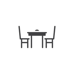 Dining table with chairs icon vector, filled flat sign, solid pictogram isolated on white. Symbol, logo illustration.