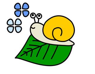 カタツムリ(色、葉、花(青))
