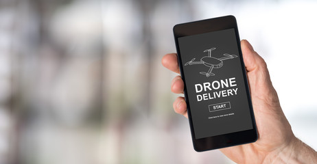 Drone delivery concept on a smartphone