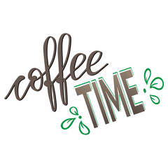 """Handwritten inscription """"coffee time"""" lettering, calligraphy. The poster, menu, logo. Vector illustration"""