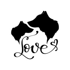Vector wolf sihlouette and hand letters. Two wolf and lettering Love for design shirt, fashion, cards, prints