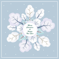 Christmas greeting card with the image of a winter woodland. Round frame.