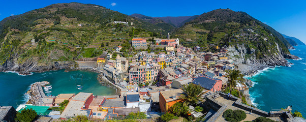 Wall Mural - Panorama view of Vernazza one of Cinque Terre in the province of La Spezia, Italy