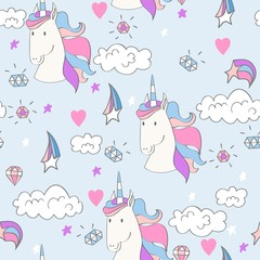 Magic cute unicorn with magic elements. Vector seamless pattern