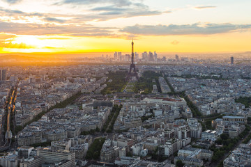 View of cityscape skyline with Eiffel Tower in Paris, France
