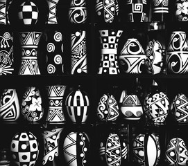 Black and white abstract pattern; beautiful traditional bowls, vases, dishes, pots and urns